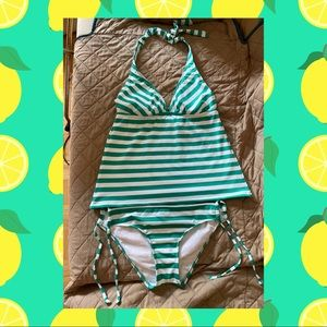 Teal & White Stripped 2 piece bathing suit